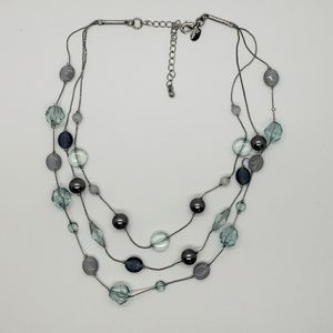 Multi Layers Pearls and Beads Station Necklace